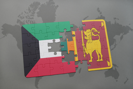 ceylon: puzzle with the national flag of kuwait and sri lanka on a world map background. 3D illustration Stock Photo