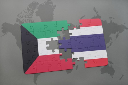 middle east crisis: puzzle with the national flag of kuwait and thailand on a world map background. 3D illustration