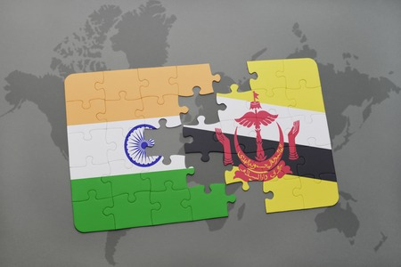 map of brunei: puzzle with the national flag of india and brunei on a world map background. 3D illustration