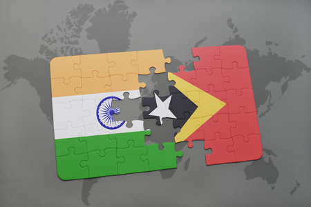 middle east crisis: puzzle with the national flag of india and east timor on a world map background. 3D illustration