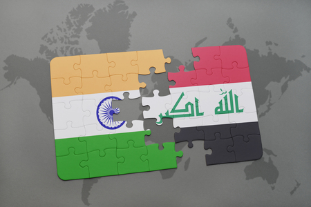 iraq conflict: puzzle with the national flag of india and iraq on a world map background. 3D illustration Stock Photo