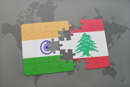 south asia: puzzle with the national flag of india and lebanon on a world map background. 3D illustration
