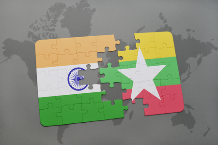 Puzzle with the national flag of india and myanmar on a world illustration puzzle with the national flag of india and myanmar on a world map background 3d illustration gumiabroncs Images