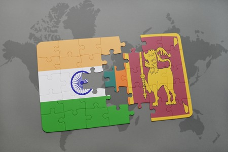 colombo: puzzle with the national flag of india and sri lanka on a world map background. 3D illustration Stock Photo