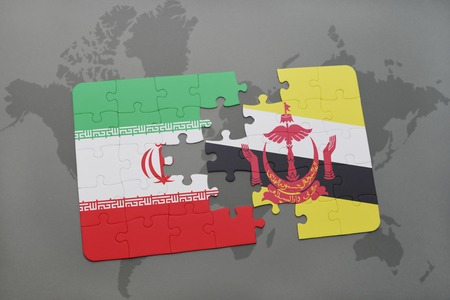 map of brunei: puzzle with the national flag of iran and brunei on a world map background. 3D illustration