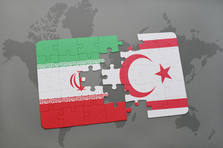 puzzle with the national flag of iran and northern cyprus on a world map background. 3D illustration