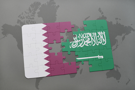 puzzle with the national flag of qatar and saudi arabia on a world map background. 3D illustration