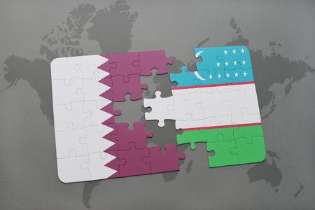 middle east crisis: puzzle with the national flag of qatar and uzbekistan on a world map background. 3D illustration