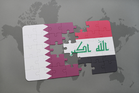 iraq conflict: puzzle with the national flag of qatar and iraq on a world map background. 3D illustration