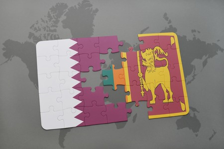 middle east crisis: puzzle with the national flag of qatar and sri lanka on a world map background. 3D illustration