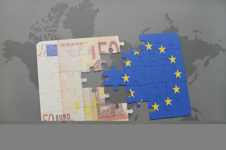 puzzle with the national flag of european union and euro banknote on a world map background. 3D illustration
