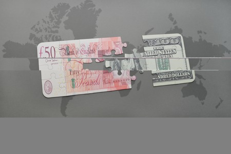 british pound: puzzle with the british pound and dollar banknote on a world map background. 3D illustration Stock Photo