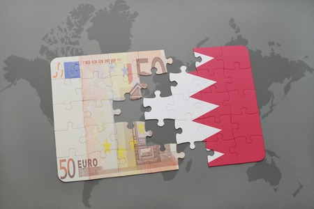 bahrain money: puzzle with the national flag of bahrain and euro banknote on a world map background. 3D illustration