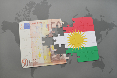 puzzle with the national flag of kurdistan and euro banknote on a world map background. 3D illustration Stock Photo