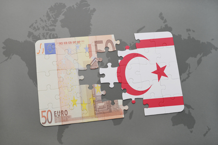 puzzle with the national flag of northern cyprus and euro banknote on a world map background. 3D illustration