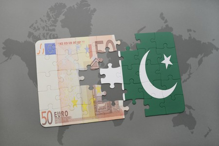 islamabad: puzzle with the national flag of pakistan and euro banknote on a world map background. 3D illustration