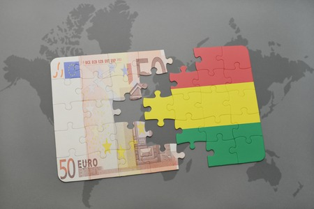 european integration: puzzle with the national flag of bolivia and euro banknote on a world map background. 3D illustration Stock Photo