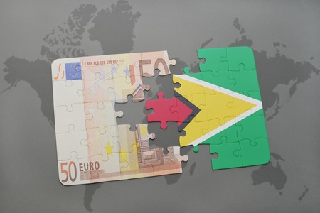 guyanese: puzzle with the national flag of guyana and euro banknote on a world map background. 3D illustration