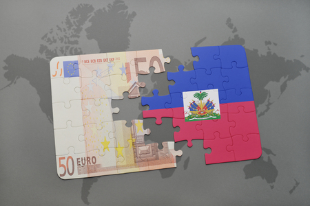port au prince: puzzle with the national flag of haiti and euro banknote on a world map background. 3D illustration