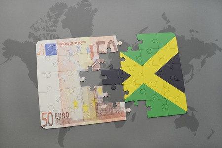 kingston: puzzle with the national flag of jamaica and euro banknote on a world map background. 3D illustration