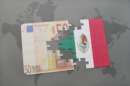 european integration: puzzle with the national flag of mexico and euro banknote on a world map background. 3D illustration Stock Photo