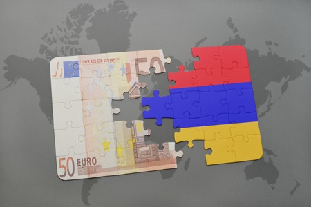yerevan: puzzle with the national flag of armenia and euro banknote on a world map background. 3D illustration