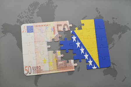 bosnian: puzzle with the national flag of bosnia and herzegovina and euro banknote on a world map background. 3D illustration Stock Photo