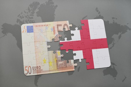 banknote: puzzle with the national flag of england and euro banknote on a world map background. 3D illustration