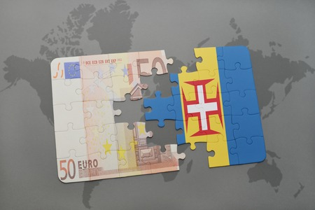 madeira: puzzle with the national flag of madeira and euro banknote on a world map background. 3D illustration Stock Photo