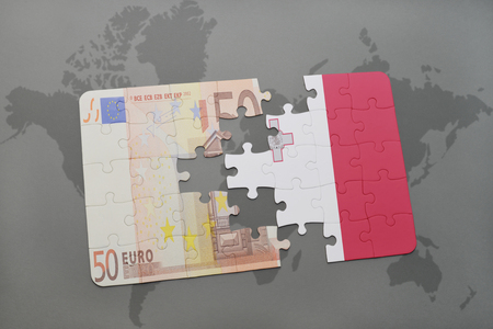 maltese map: puzzle with the national flag of malta and euro banknote on a world map background. 3D illustration Stock Photo