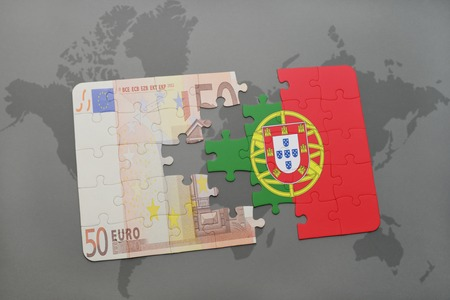 go for: puzzle with the national flag of portugal and euro banknote on a world map background. 3D illustration
