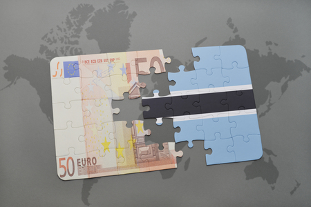 fund world: puzzle with the national flag of botswana and euro banknote on a world map background. 3D illustration