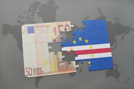 verde: puzzle with the national flag of cape verde and euro banknote on a world map background. 3D illustration Stock Photo