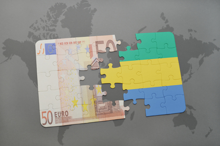 fund world: puzzle with the national flag of gabon and euro banknote on a world map background. 3D illustration