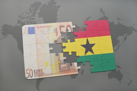 fund world: puzzle with the national flag of ghana and euro banknote on a world map background. 3D illustration