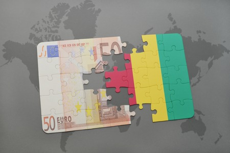fund world: puzzle with the national flag of guinea and euro banknote on a world map background. 3D illustration
