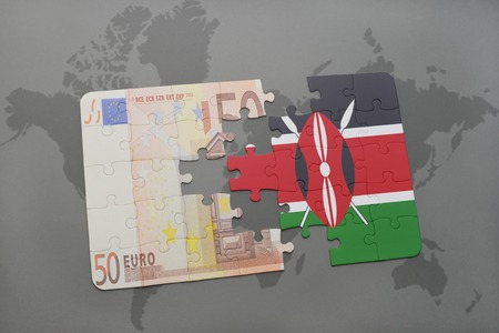 european integration: puzzle with the national flag of kenya and euro banknote on a world map background. 3D illustration Stock Photo