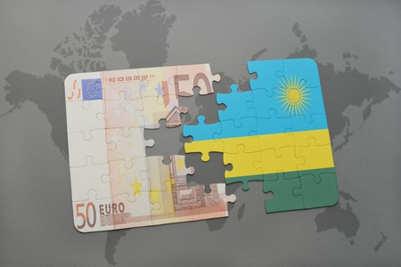 kigali: puzzle with the national flag of rwanda and euro banknote on a world map background. 3D illustration