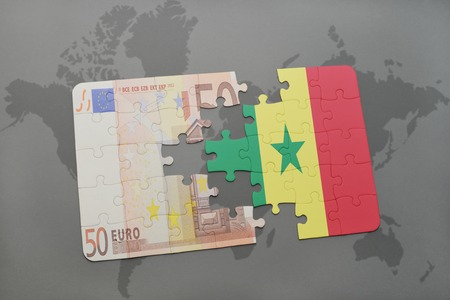 dakar: puzzle with the national flag of senegal and euro banknote on a world map background. 3D illustration
