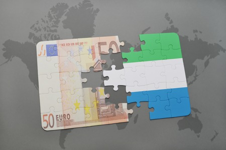 fund world: puzzle with the national flag of sierra leone and euro banknote on a world map background. 3D illustration