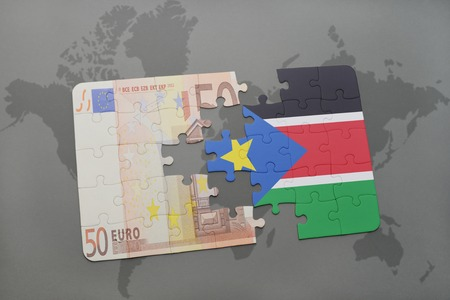 south sudan: puzzle with the national flag of south sudan and euro banknote on a world map background. 3D illustration Stock Photo