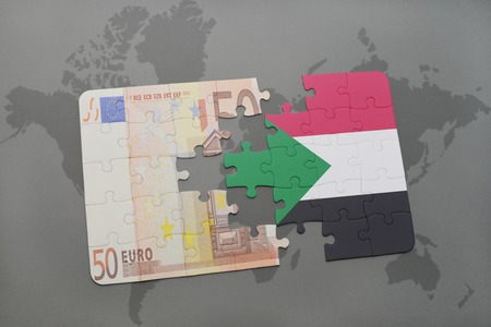 fund world: puzzle with the national flag of sudan and euro banknote on a world map background. 3D illustration