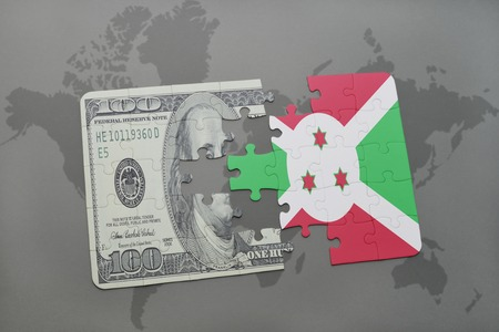 bujumbura: puzzle with the national flag of burundi and dollar banknote on a world map background. 3D illustration