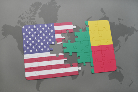 benin: puzzle with the national flag of united states of america and benin on a world map background. 3D illustration
