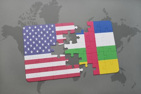 african america: puzzle with the national flag of united states of america and central african republic on a world map background. 3D illustration