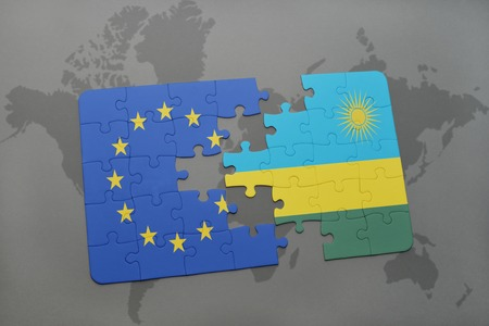 kigali: puzzle with the national flag of european union and rwanda on a world map background. 3D illustration