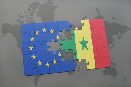 dakar: puzzle with the national flag of european union and senegal on a world map background. 3D illustration