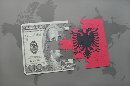 european integration: puzzle with the national flag of albania and dollar banknote on a world map background. 3D illustration