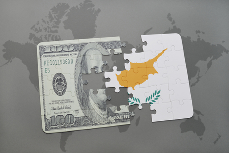 us currency: puzzle with the national flag of cyprus and dollar banknote on a world map background. 3D illustration