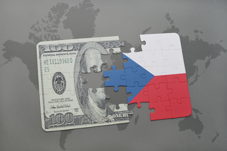 european integration: puzzle with the national flag of czech republic and dollar banknote on a world map background. 3D illustration